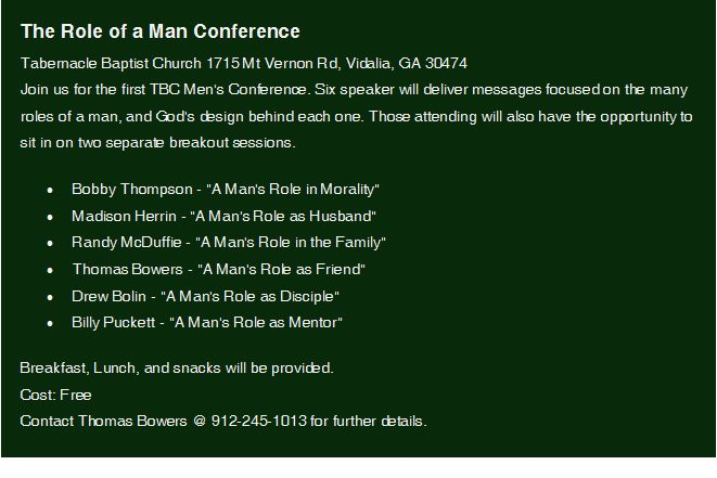 2019-02-02 The Role of a Man Conference in Vidalia