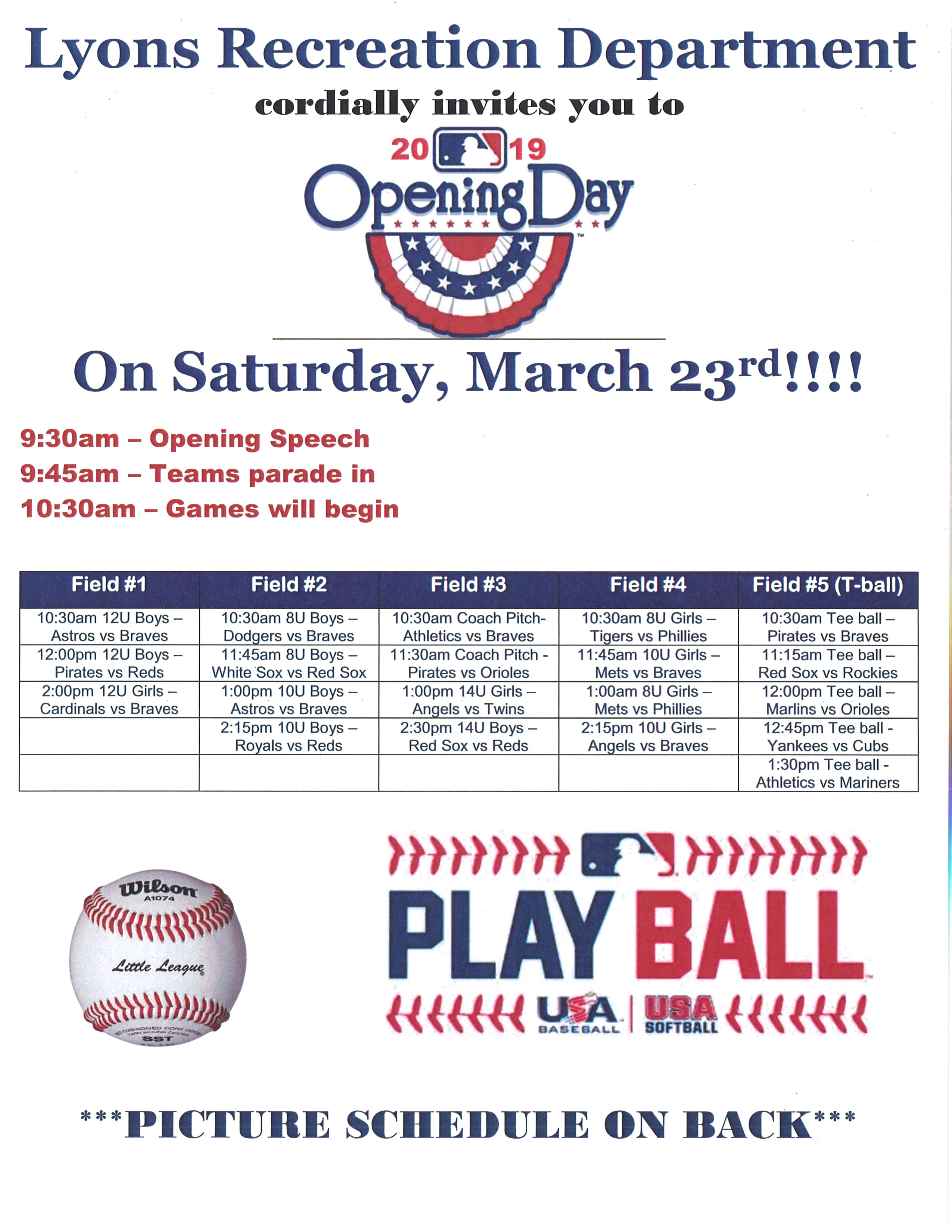 2019-03-23 Play Ball Lyons Recreation Department