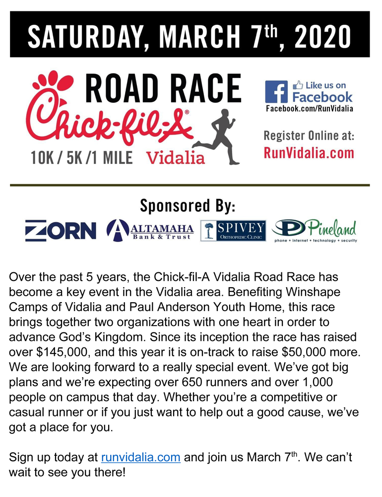 2020-03-07 Road Race - Chick-Fil-A
