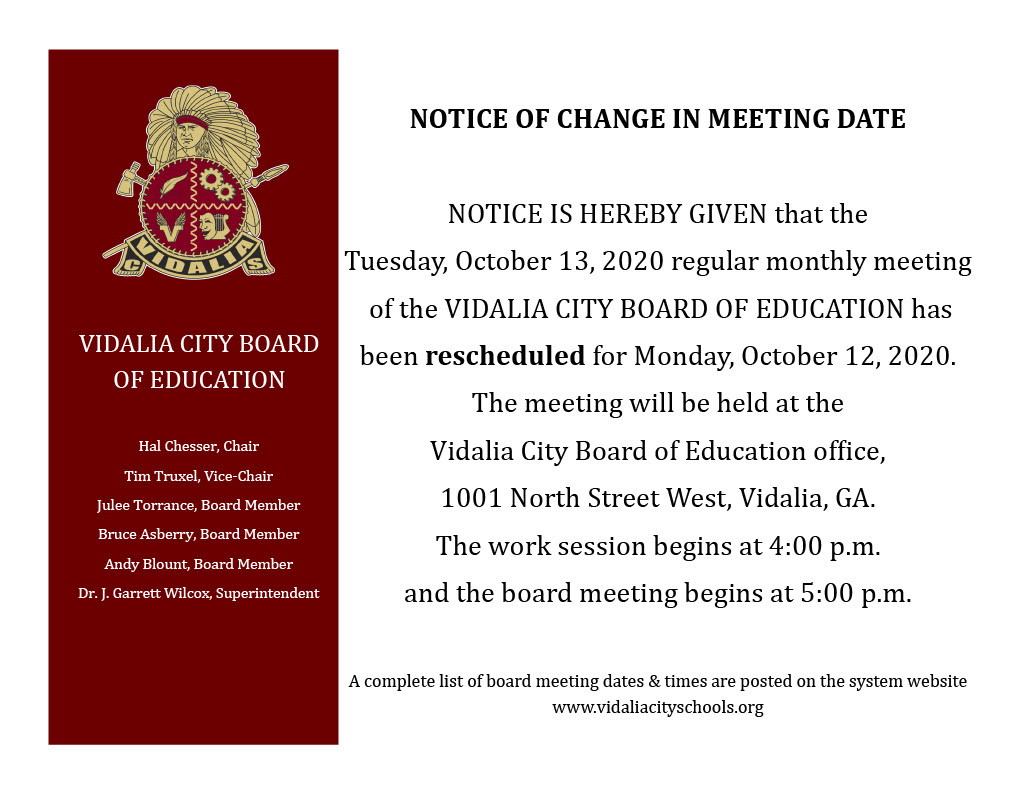NOTICE OF CHANGE IN MEETING DATE Oct 13 to Oct 12 20201024 1