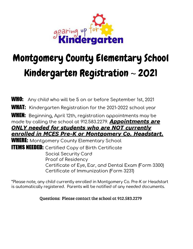 Montgomery County Kindergarten Registration