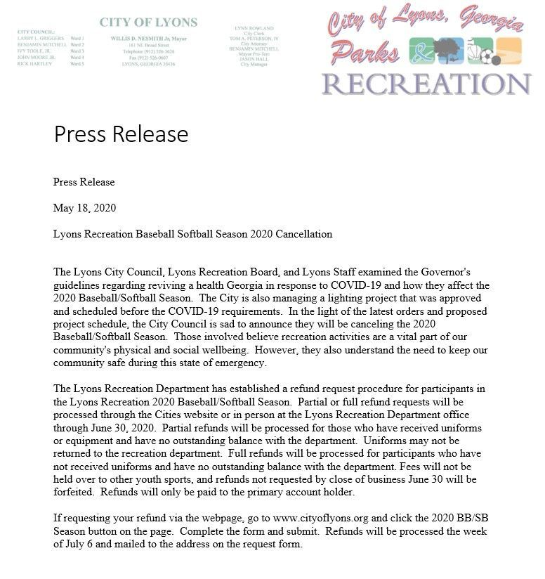 Lyons Recreation Department Cancels 2020 Baseball-Softball Season